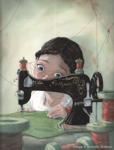 """""""Little Seamstress"""" by Quentin Gréban (Nov. 18, 2014) ...Wendy sewing for Peter Pan..."""