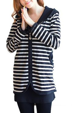$45.03 nice Black And White Striped Sweater Coat Hooded Long Cardigan sweater