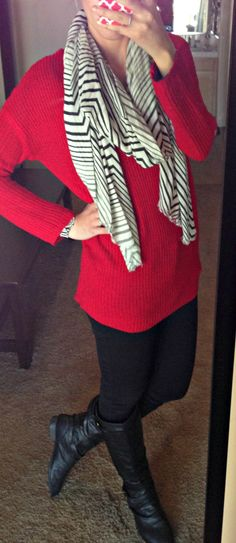 simple cotton scarf with a big sweater