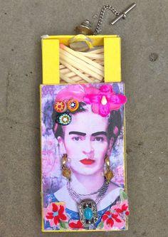 Little tiny matchbox craft. Frida Kahlo. Fierce.