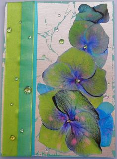 Handmade Decoupage Greeting Card with Hydrangeas, Ribbon and Rhinestones