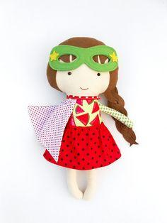 SUPERHERO DOLL fabric doll cloth dolls dolls soft by LaLobaStudio