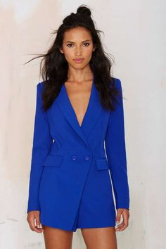 No Tux Given Blazer Romper - Blue - Rompers + Jumpsuits   Long Sleeve b2d2a9772