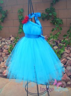 Tutu Dresses, Tutu Dress, Flower Girl Dress, Turquoise Tulle, Blue Satin Ribbon, Red Mum, Formal Dresses, Portrait Dress, Wedding. $45.00, via Etsy.
