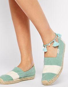 Soludos Original Barca Washed Mint Stripe Espadrille Flat Shoes