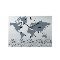 World Time Aluminum Wall Clock by Karlsson by Present Time at Gilt Wall Clock Time Zones, Time Zone Clocks, Time Clock, World Clock, World Map Wall, World Time Zones, Clock Display, Map Globe, Kare Design