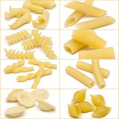Do you know all of the names and translations of these pasta shapes? Pasta Sauce Recipes, Healthy Pasta Recipes, Healthy Pastas, Creamy Garlic Pasta, Pasta Machine, Pasta Shapes, Pasta Maker, Fresh Pasta