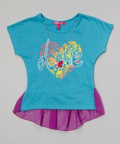 Loving this Aqua & Purple Heart Chiffon Fishtail Top - Girls on #zulily! #zulilyfinds