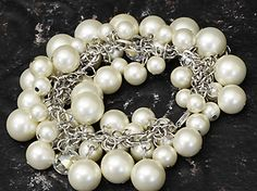 "Park Avenue  Length: 7""  Cream Pearls and Crystal Cluster  $23.00  www.thebluezebra.com shipping to Canada and the USA IS FREE!!"