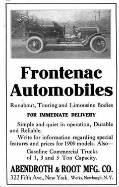 1909 Frontenac Automobile Advertisement