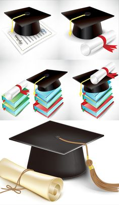 Bachelor Cap book vector material