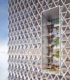 Image 7 of 7 from gallery of The Tallest Timber Tower Yet: Perkins + Will's Concept Proposal for River Beech Tower. Courtesy of River Beech Tower Organic Architecture, Futuristic Architecture, Facade Architecture, Amazing Architecture, Contemporary Architecture, Landscape Architecture, Building Facade, Building Structure, Building Design