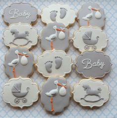 Stork baby shower cookies by Miss Biscuit - Baby Shower Cupcakes - Baby Shower Ideas Baby Cakes, Baby Shower Cakes, Gateau Baby Shower, Idee Baby Shower, Stork Baby Showers, Baby Shower Pasta, Baby Boy Shower, Baby Shower Biscuits, Elegant Baby Shower