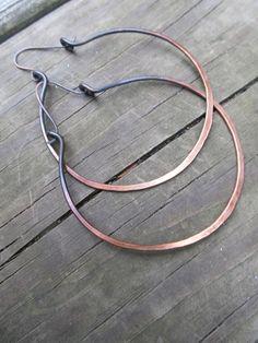 Hoop Earrings Large Ombre Big Hoop Earrings Hammered Metalwork Jewelry Oxidized Copper by DanielleRoseBean. $32.00, via Etsy.