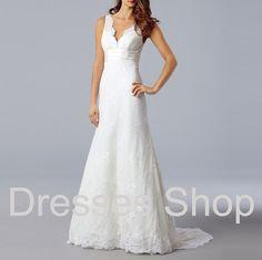 Lace Wedding Dresses, Mermaid Bridal Dress, Straps Wedding Dresses, V-neck Wedding Dresses,Custom Wedding Dresses