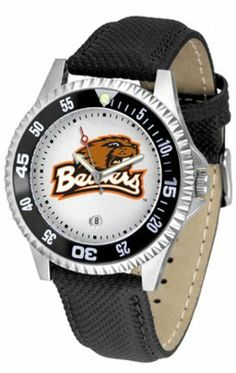 Oregon State Beavers Competitor Men's Watch with Nylon / Leather Band by SunTime. $74.55. The hottest sports watch on the market, the Competitor features the Oregon State Beavers team logo boldly displayed on the dial along with a colorful rotating timer/bezel, quartz accurate movement and leather/nylon strap. The combined leather underneath and nylon on top makes the watch water resistant as well.¶Wear it to a game, while watching a game or just to show off your NCAA pride ...
