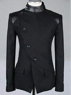 Richard look 2 shoulder detail Men Fashion British Style Long Sleeve Slant Buttons Design Black Polyamide Coat M/L/XL Mens Fashion Suits, Mens Suits, Mode Man, Sherwani, Jackett, Mode Outfits, Casual Outfits, Mode Style, Punk Outfits