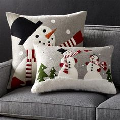 Shop Snowman Pillow with Feather-Down Insert. Joan Anderson& delightful snowman frolics on a snowy day on this festive pillow. Made by skilled artisans in India, the pillow features appliqués and several embroidery techniques on grey felt. Christmas Sewing, Christmas Pillow, Felt Christmas, Christmas Crafts, Christmas Decorations, Christmas Ornaments, Christmas Cushions To Make, Christmas Snowman, Felt Pillow