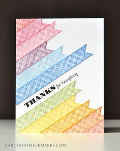 Border stamp from Simon Says stamped on scrap paper in various colors, trimmed them, and arranged in a rainbow of color.