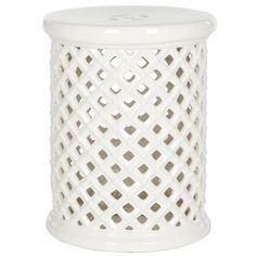 Beautiful pierced ceramic lattice work inspired by a garden trellislends character and charm to the Isola garden stool in cream.