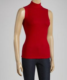 Look what I found on #zulily! Red Ribbed Mock Neck Tank #zulilyfinds