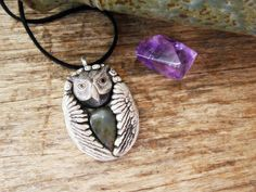 Owl Spirit Animal Labradorite Gemstone Necklace by TRaewyn on Etsy