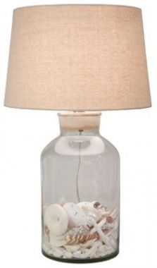 ...for all of you looking to redo the beach cottage, love this great lamp with the shells tucked inside!