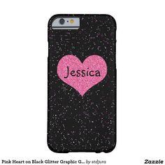 Pink Heart on Black Glitter Graphic Girly Name Barely There iPhone 6 Case Cell Phone Cases, Iphone Case Covers, Black Glitter, Initials, Girly, Monogram, Amber, Pink, Heart