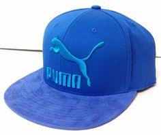 New SUEDE-like BRIM PUMA SNAPBACK HAT Blue Cat-Logo Flat-Bill Men/Women/Teen #PUMA #BaseballCap