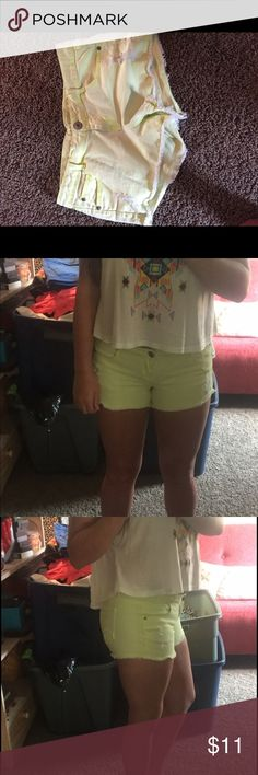 Super cute and comfortable neon yellow shorts These shorts have a few slight distressed designs and are very comfortable for being jean shorts. They are a slightly more toned down neon yellow but will still make you look tan! Rue 21 Shorts Jean Shorts
