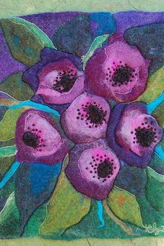 A wet felted artwork rich color palette  hand sewn  by thereseholt, $150.00