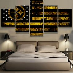 5P Pittsburgh Steelers Spor Flag Logo Modern Home Wall Decor Canvas Picture Art HD Print Painting Canvas For Living Room gg322 #Affiliate