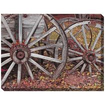 A photo-realistic image of a weathered wagon wheel makes the West of the Wind Westward Ho Canvas Art - 40 x 30 in. a perfect image for your rustic outdoor. Canvas Artwork, Wall Canvas, Ranch Style Decor, Wooden Wagon Wheels, Western Wall Decor, Outdoor Wall Art, Indoor Outdoor, Outdoor Decor, Vinyl Frames