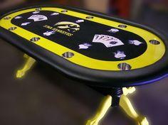 Custom poker table with Iowa Hawkeye custom felt college