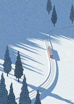 Winter Sunshine Framed Art Print by Ryo Takemasa - Vector Black - Illustration Inspiration, Winter Illustration, Landscape Illustration, Flat Illustration, Graphic Design Illustration, Layout Inspiration, Illustrator, Beautiful Landscape Photography, Plakat Design
