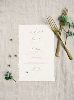 I really like the mix of the vintage typewriter font and custom calligraphy on this wedding menu. Looks really beautiful. Wedding Menu Cards, Wedding Stationary, Wedding Paper, Wedding Invitations, Invites, Gold Wedding, Plan Your Wedding, Wedding Planning, Wedding Ideas