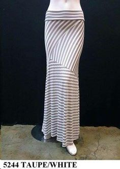 This GORGEOUS Casual Taupe & White Stripe Maxie Skirt for any Occasion!!!  For more fashion  Like me on  www.facebook.com/dahliatravelingboutique