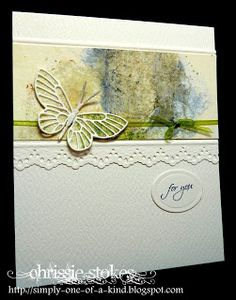 "By Chrissie Stokes. Colored band made by squishing flowers & leaves between two pieces of card & running them through the Cuttlebug. Scraped off the remains of the plants & allowed the card to dry. The background layer of the butterfly was die-cut from a section of the treated card and then gently twinkled with Glamour Dust. The border was punched with a Martha Stewart punch. See my board ""Cardmaking Techniques"" for Squished Flower Background Technique directions."