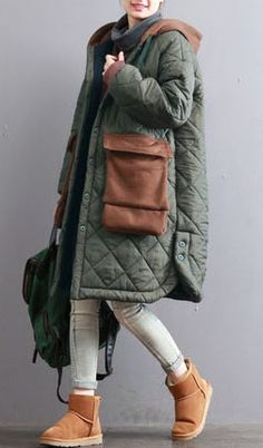 thick-army-green-women-oversized-hooded-drawstring-Coats-top-quality-patchwork-Large-pockets-winter-coats Your baby blanket – which features a little rinse leading and face mask – Hooded Winter Coat, Winter Coats Women, Winter Jackets, Plus Size Down Coats, Gilet Long, Winter Stil, Casual Winter, Womens Parka, Mode Hijab