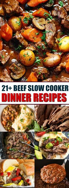 21+ Beef Slow Cooker Dinner Recipes that include Tacos, Sandwiches, Stew, and Brisket, these recipes are known for their deep flavors and easy directions.  via @bestblogrecipes