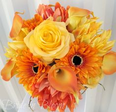 Swap the yellow rose for the dahlias
