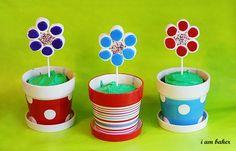 marshmallow flower pot cakes