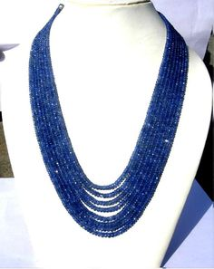 This listing is for a 8 strands necklace of super finest Quality Blue Sapphire Micro Faceted Rondelles with perfect cut, color, faceting and polishing in size of 3 to 5mm approx, you will receive 8 strands necklace with length of 16 - 20 inches long. --------------------------------------------------------------------------------------------------------------------------- Product name: Blue Sapphire Micro Faceted Rondelles Size: Dimensions(each) 3 to 5mm approx. Quantity : 8 strands Length…