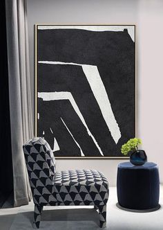 Black and white abstract art minimalist painting on canvas #MN26B, vertical modern art by CZ ART DESIGN @CelineZiangArt