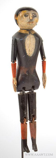 Antique Folk Art Dancing Jigger Doll, Circa 1890ish, entire view