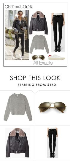 """""""Eleanor Calder with Bruce"""" by lifeisworthlivingagain ❤ liked on Polyvore featuring Acne Studios, Ray-Ban, AllSaints and Yves Saint Laurent"""