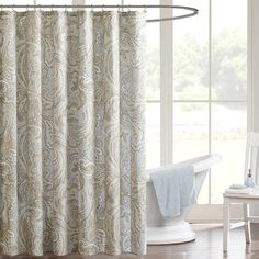 BLUE GRAY AND GREEN BEIGE Madison Park Pure Dermot Cotton Shower Curtain - 2 Color Options
