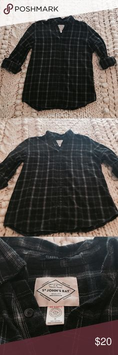 Flannel- Grey tones St. John's Bay men's flannel. Two tones of grey! SIZE MEDIUM St. John's Bay Shirts Casual Button Down Shirts