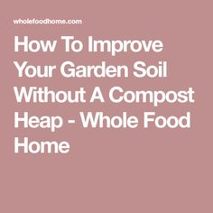 How To Improve Your Garden Soil Without A Compost Heap - Whole Food Home