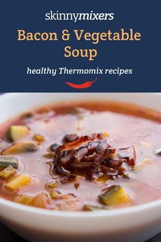 Skinnymixers Bacon & Vegetable Soup is a free Thermomix recipe and also featured in The Healthy Mix cookbook. This soup is budget-friendly and so delicious. Vegetable Soup Healthy, Vegetable Soup Recipes, Healthy Soup, Healthy Chicken Recipes, Healthy Foods To Eat, Savoury Recipes, Healthy Tips, Low Carb Dinner Recipes, Diet Recipes
